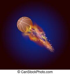 baloncesto anaranjado, pelota, abrasador, icono