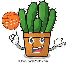 baloncesto, cacto, caricatura, spurge, maceta