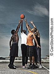 baloncesto, calle, equipo