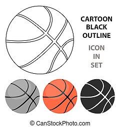 baloncesto, cartoon., grande, entrenamiento, solo, condición...