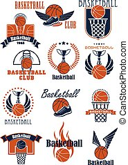 baloncesto, deporte, iconos, con, juego, artículos