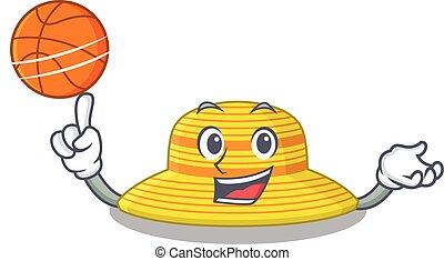 baloncesto, deportivo, diseño, sombrero, verano, mascota, caricatura