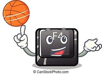 baloncesto, f4, botón, installed, teclado, caricatura