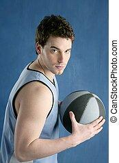 baloncesto, joven, cesta, jugador, retrato
