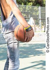 baloncesto, juego, hombre, joven