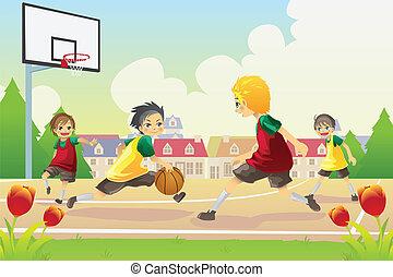 baloncesto, juego, niños