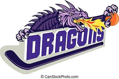 baloncesto, palo, fuego, dragón, retro, hockey