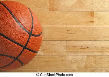 baloncesto, piso, gimnasio, madera, sobre, visto