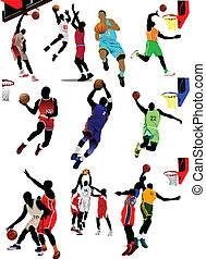 baloncesto, players., coloreado, vector
