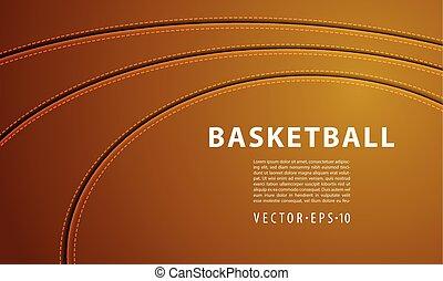 baloncesto, puntada, cuero, tres, tiras, fondo., pelota, ...