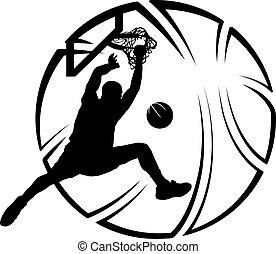 baloncesto, remojar, con, estilizado, pelota