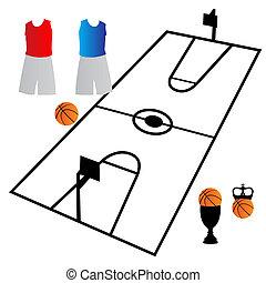 baloncesto, símbolo, vector
