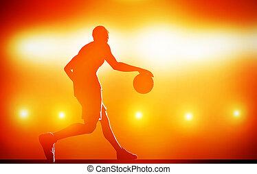 baloncesto, silueta, gotear, jugador, pelota, plano de...