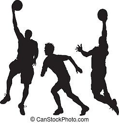 baloncesto, tres hombres, juego