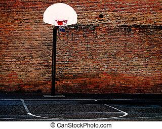 baloncesto, urbano, tribunal