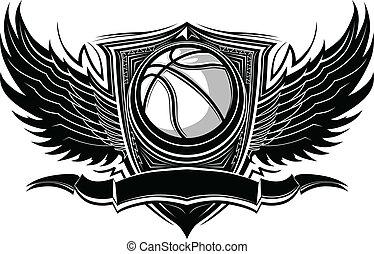 baloncesto, vect, gráfico, pelota, florido