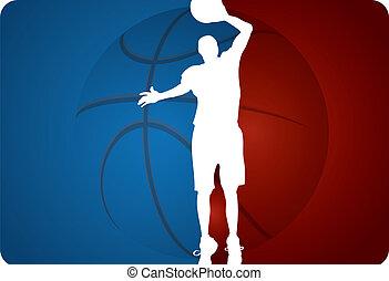 baloncesto, vector, -, plano de fondo, ilustración