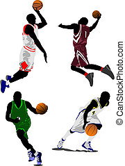 baloncesto, vector, players., ilustración