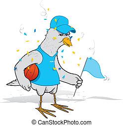 baloncesto, ventilador, pájaro