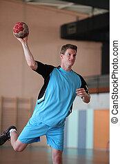 balonmano, jugador, disparando