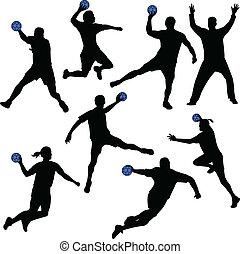balonmano, jugadores, siluetas