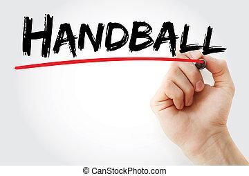 balonmano, marcador, mano, escritura