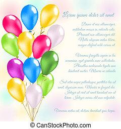 balony, barwny, karta, zaproszenie