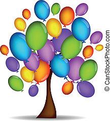 balony, drzewo