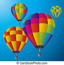 balony, gorący, niebo, powietrze