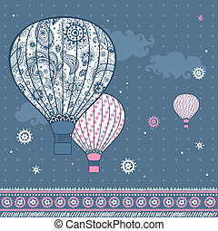 balony, ilustracja, rocznik wina, powietrze