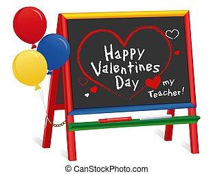 balony, mój, dzień, chalkboard, nauczyciel, miłość, list miłosny, sztaluga, dzieci