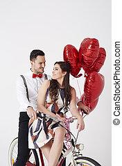balony, para, rower, młody
