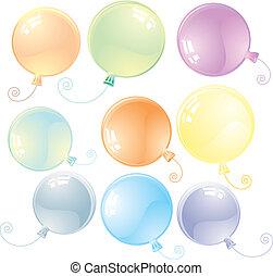 balony, połyskujący