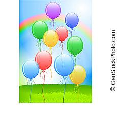 balony, tło, internet