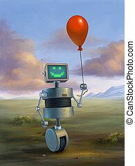 baloon , κόκκινο , χαριτωμένος , κράτημα , ρομπότ