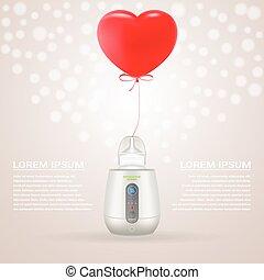 baloon, alimentazione, illustration., cuore, isolato, fondo., forma, vettore, più caldo, bottiglia, bambino, rosso