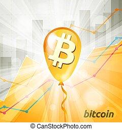 baloon, cryptocurrency, backg, dorato, bitcoin, luminoso, ...