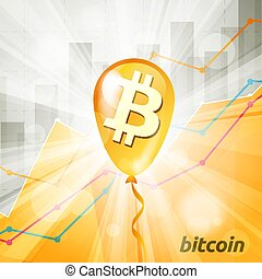 baloon, cryptocurrency, backg, gouden, bitcoin, helder, ...