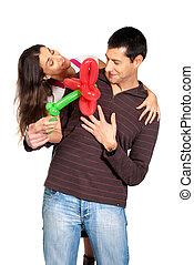 baloon, fleur, cadeau,  couple, jeune, isolé, jour, valentin,  s