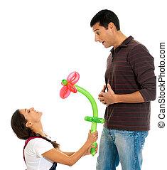 baloon, fleur, cadeau, couple, jeune, isolé, jour, valentine?s