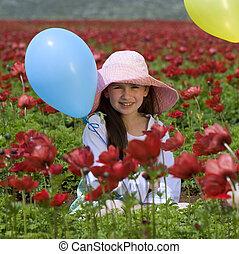 baloon, girl, fleurs, rouges