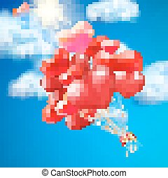baloon, jádro- formovat, eps, 10, sky.