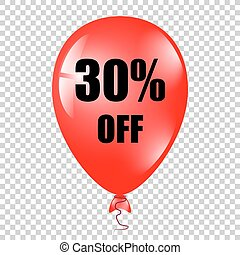 baloon, percents, 隔離された, 赤, バックグラウンド。