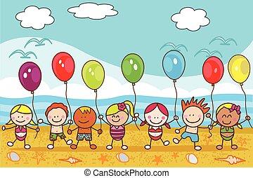 baloon, strand, kinderen spelende