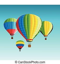 baloon, warme, vector, illustratie, lucht