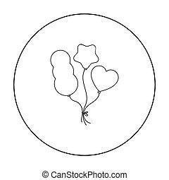 baloons, スタイル, illustration., アイコン, シンボル, サーカス, 隔離された, バックグラウンド。, ベクトル, 白, 株, アウトライン