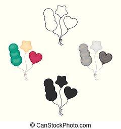 baloons, スタイル, illustration., シンボル, サーカス, 隔離された, バックグラウンド。, ベクトル, 白, アイコン, 漫画, 株