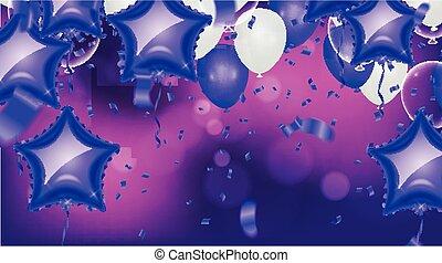 baloons, arriba, claro, fucsia, aislado, metálico, plano de fondo, trayectoria, blanco
