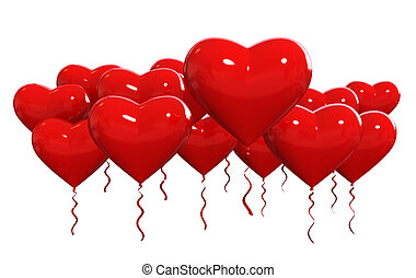 Baloons - 3d render of red colours party baloons heart...