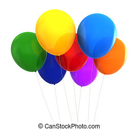 Baloons - 3d render of different colours party baloons